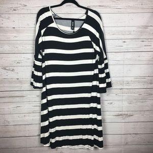 NWT Agnes &Dora Black/White Stripe Walker Dress XL